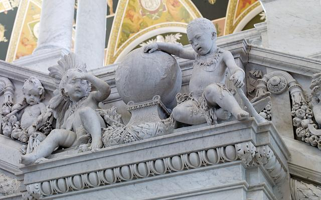 [Great Hall. Detail of cherubs representing America and Africa on the Grand staircase, Philip Martiny. Library of Congress Thomas Jefferson Building, Washington, D.C.]