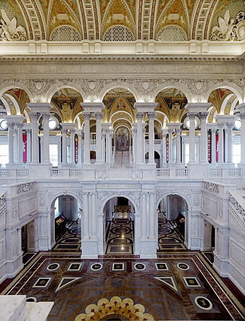 [Great Hall. View from the second floor west corridor. Library of Congress Thomas Jefferson Building, Washington, D.C.]