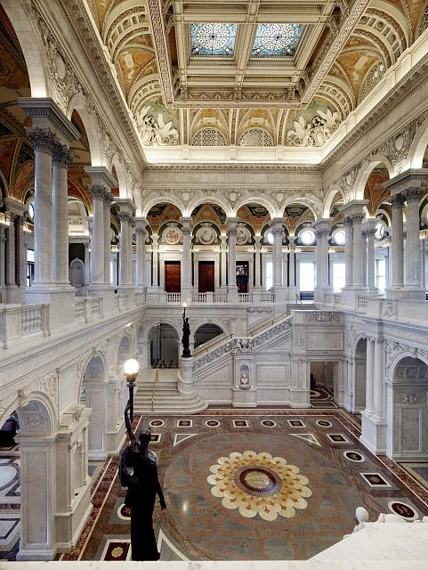 [Great Hall. View from the second floor south corridor. Library of Congress Thomas Jefferson Building, Washington, D.C.]