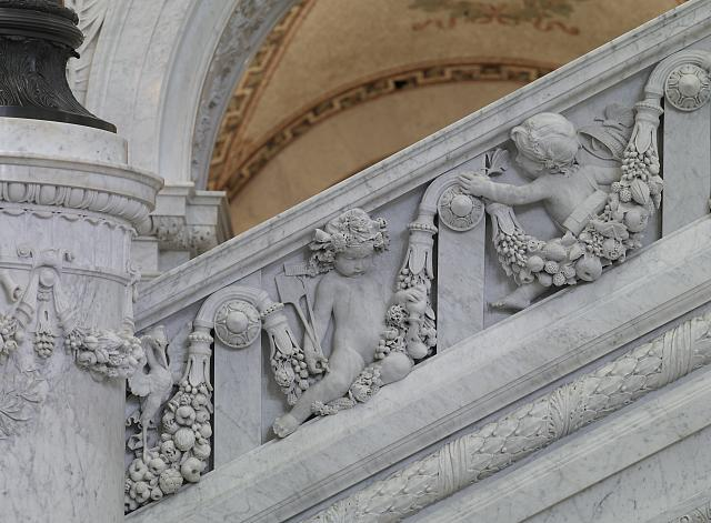 [Great Hall. Detail of putti (gardner and entomologist) on the Grand staircase, Philip Martiny. Library of Congress Thomas Jefferson Building, Washington, D.C.]