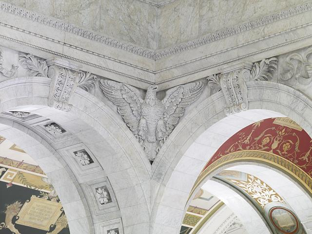 [Great Hall. Corner eagle sculpture and voluted keystones. Library of Congress Thomas Jefferson Building, Washington, D.C.]