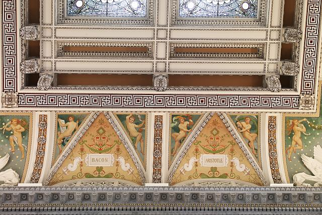 [Great Hall. Detail of ceiling and cove showing Bacon and Aristotle plaques. Library of Congress Thomas Jefferson Building, Washington, D.C.]