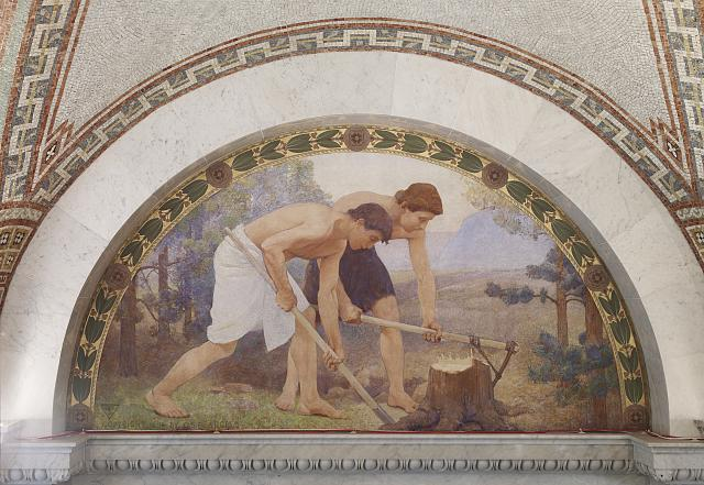 [North Corridor, Great Hall. Labor mural in lunette from the Family and Education series by Charles Sprague Pearce. Library of Congress Thomas Jefferson Building, Washington, D.C.]