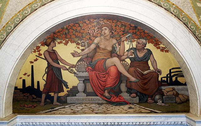 [Lobby to Main Reading Room. Corrupt Legislation mural by Elihu Vedder. Library of Congress Thomas Jefferson Building, Washington, D.C.]