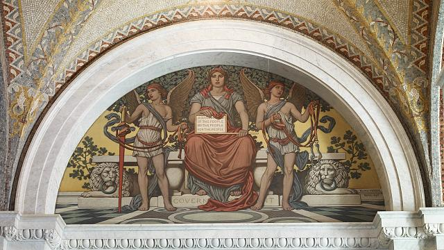 [Lobby to Main Reading Room. Government mural by Elihu Vedder. Library of Congress Thomas Jefferson Building, Washington, D.C.]