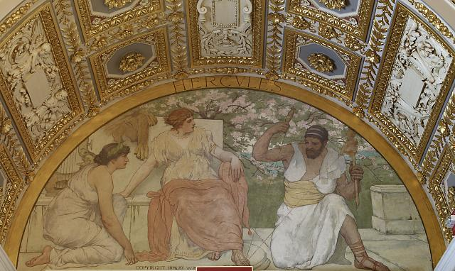 [South corridor, first floor. Mural depicting Hercules from The Greek Heroes series by Walter MacEwen. Library of Congress Thomas Jefferson Building, Washington, D.C.]