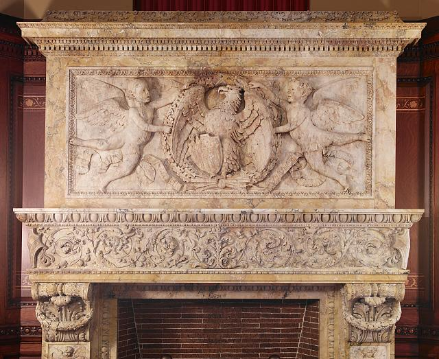 [Senate Members Room. Carved Siena marble mantel and cornice of the fireplace. Library of Congress Thomas Jefferson Building, Washington, D.C.]
