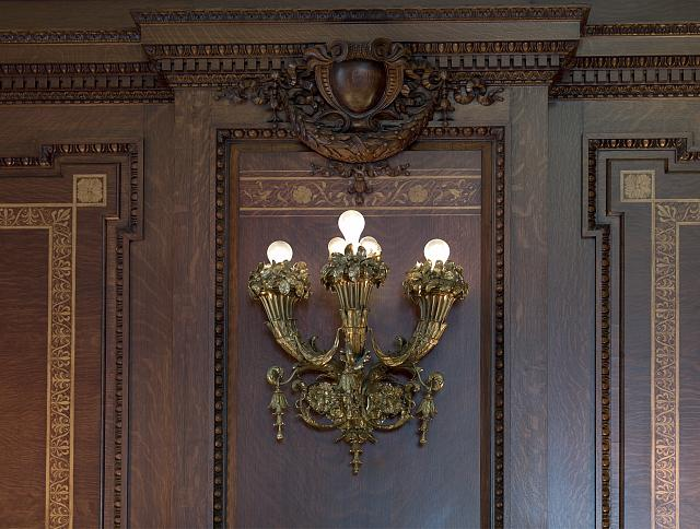 [Senate Members Room. Detail of wood paneling and sconce. Library of Congress Thomas Jefferson Building, Washington, D.C.]