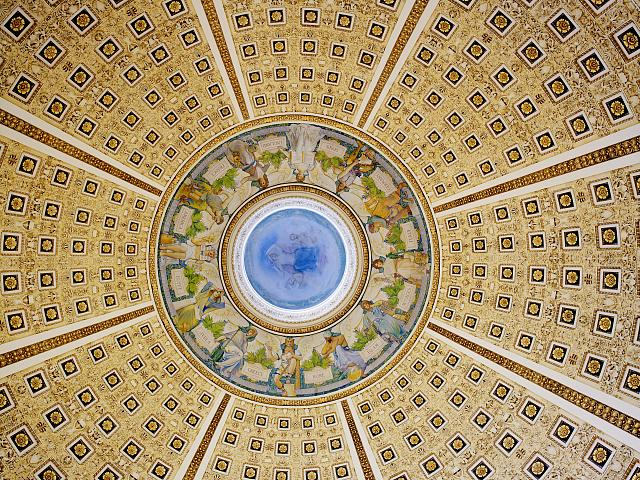 [Main Reading Room. Interior of dome. Library of Congress Thomas Jefferson Building, Washington, D.C.]