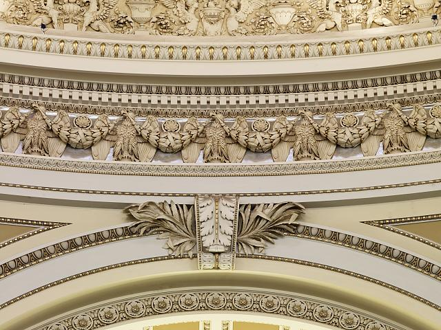 [Main Reading Room. Detail of frieze and moldings within the dome. Library of Congress Thomas Jefferson Building, Washington, D.C.]