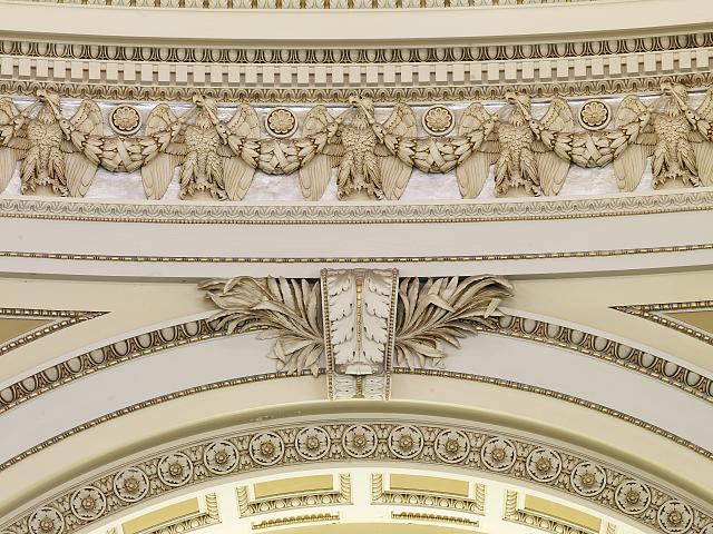 [Main Reading Room. Detail of voluted keystone and sculpted dome frieze. Library of Congress Thomas Jefferson Building, Washington, D.C.]