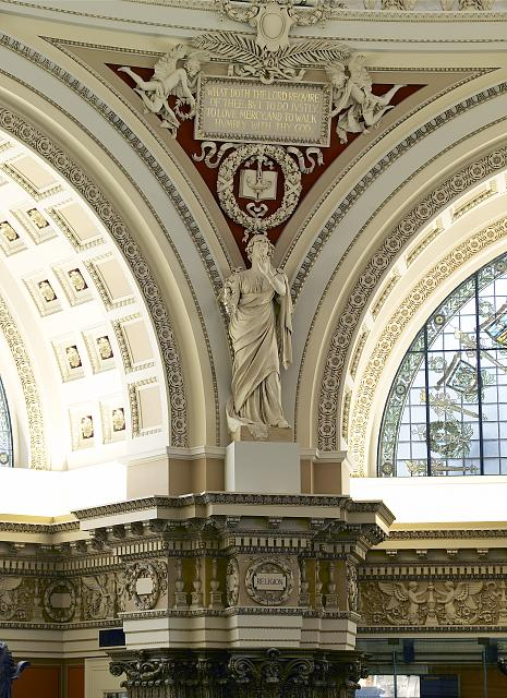 [Main Reading Room. View of statue of Religion by Theodore Baur on the column entablature between two alcoves. Library of Congress Thomas Jefferson Building, Washington, D.C.]