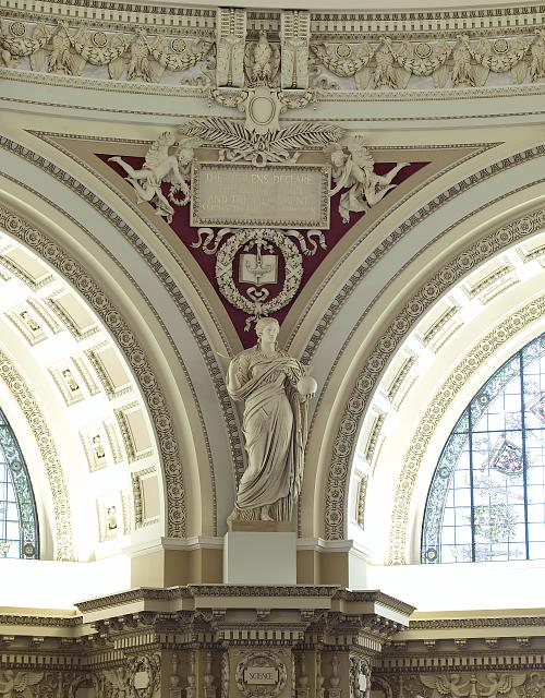 [Main Reading Room. View of statue of Science by John Donoghue on the column entablature between two alcoves. Library of Congress Thomas Jefferson Building, Washington, D.C.]