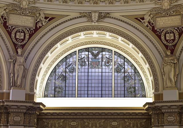 [Main Reading Room. Semi-circular stained glass window in alcove by H.T. Schladermundt with statues of Poetry and Philosophy on either side. Library of Congress Thomas Jefferson Building, Washington, D.C.]