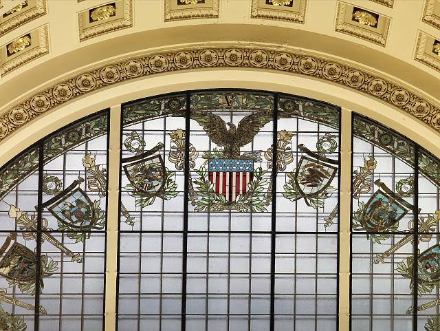 [Main Reading Room. Semi-circular stained glass window in alcove with statues of History and Commerce on either side. Library of Congress Thomas Jefferson Building, Washington, D.C.]