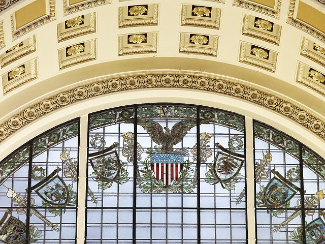 [Main Reading Room. Detail of stained glass window and coffered arch inside alcove. Library of Congress Thomas Jefferson Building, Washington, D.C.]
