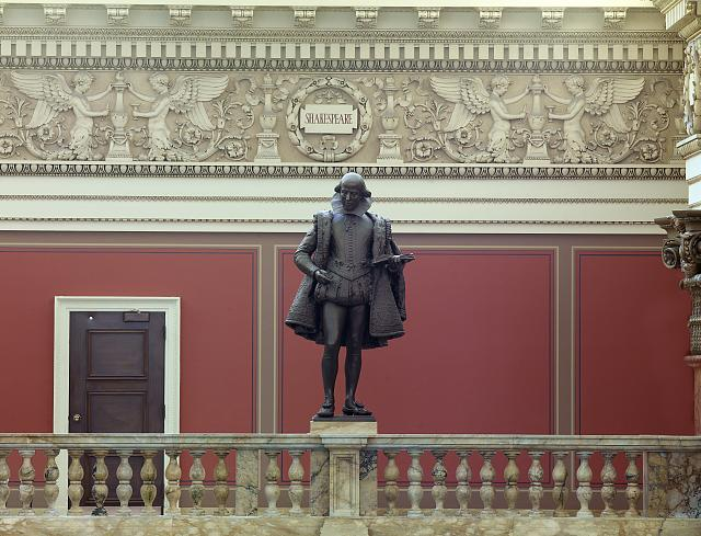 [Main Reading Room. Portrait statue of Shakespeare along the balustrade. Library of Congress Thomas Jefferson Building, Washington, D.C.]