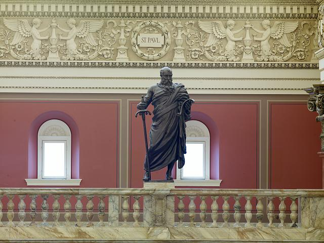 [Main Reading Room. Portrait statue of St. Paul along the balustrade. Library of Congress Thomas Jefferson Building, Washington, D.C.]