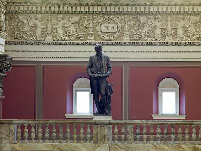 [Main Reading Room. Portrait statue of Fulton along the balustrade. Library of Congress Thomas Jefferson Building, Washington, D.C.]