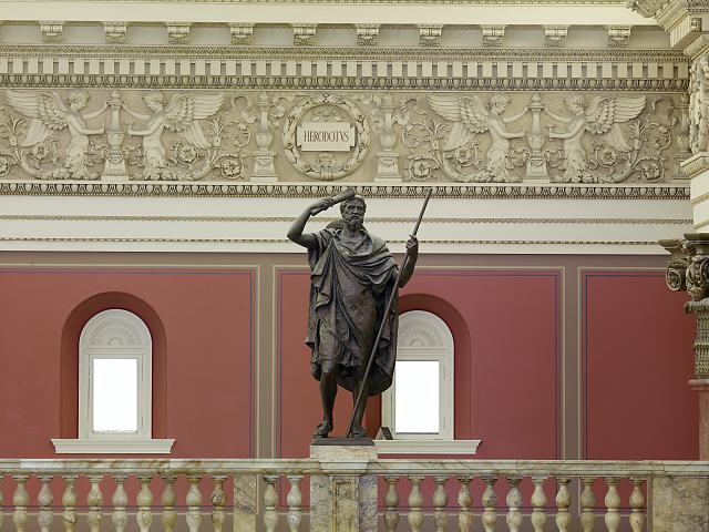 [Main Reading Room. Portrait statue of Herodotus along the balustrade. Library of Congress Thomas Jefferson Building, Washington, D.C.]