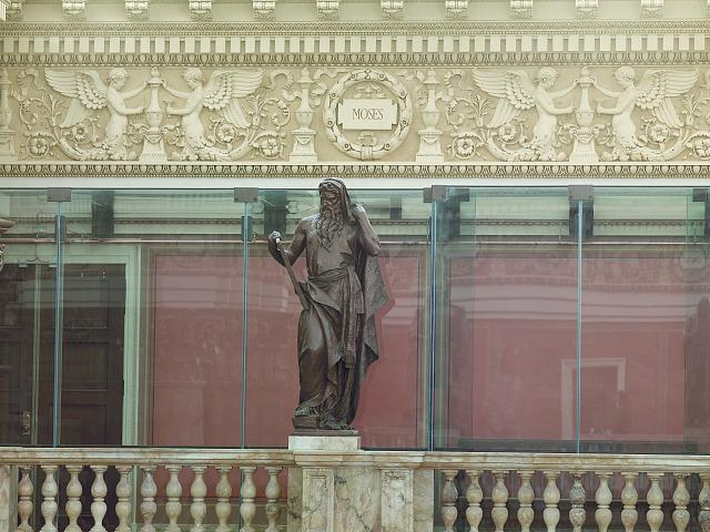 [Main Reading Room. Portrait statue of Moses along the balustrade. Library of Congress Thomas Jefferson Building, Washington, D.C.]
