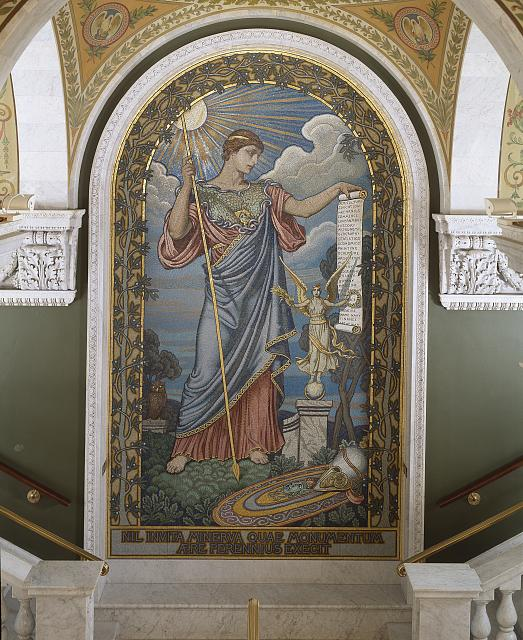 [Second Floor, East Corridor. Mosaic of Minerva by Elihu Vedder within central arched panel leading to the Visitor&#39;s Gallery. Library of Congress Thomas Jefferson Building, Washington, D.C.]
