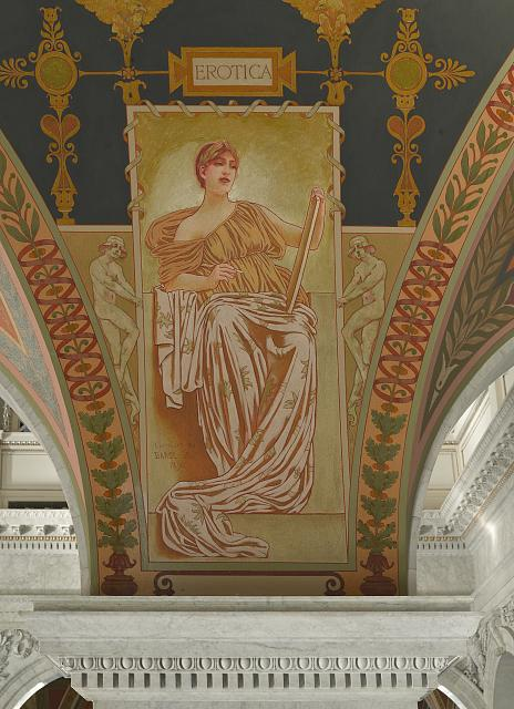 [Second Floor, East Corridor. Mural depicting Love Poetry (Erotica) in the Literature series by George R. Barse, Jr., Library of Congress Thomas Jefferson Building, Washington, D.C.]