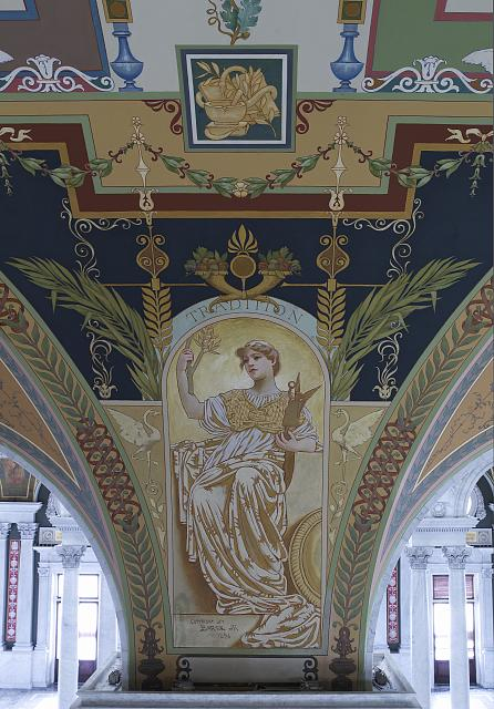 [Second Floor, East Corridor. Mural depicting Tradition in the Literature series by George R. Barse, Jr., Library of Congress Thomas Jefferson Building, Washington, D.C.]