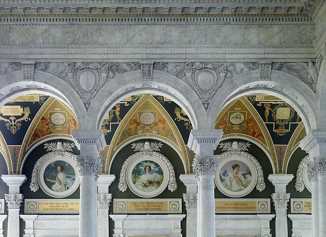 [Second Floor, South Corridor. View of Spring, Summer and Autumn murals by Frank W. Benson through arches. Library of Congress Thomas Jefferson Building, Washington, D.C.]