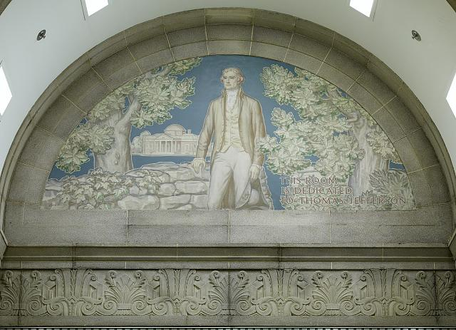 Library of Congress's South Reading Room. Mural of Thomas Jefferson with his residence, Monticello, in the background, by Ezra Winter. Library of Congress John Adams Building, Washington, D.C.