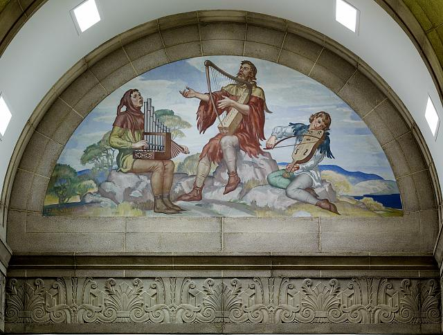 [North Reading Room. Mural with three generations, by Ezra Winter. Library of Congress John Adams Building, Washington, D.C.]