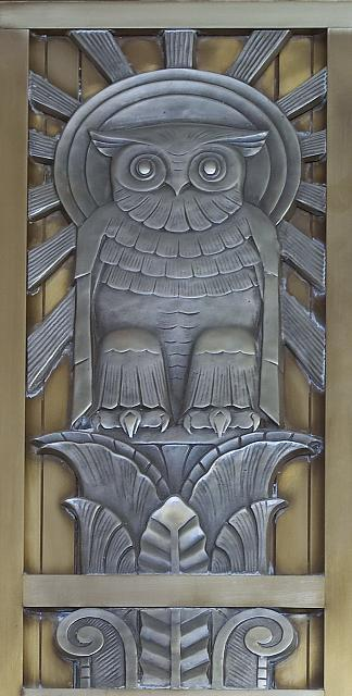 [Owl above door to center reading room on fifth floor. Library of Congress John Adams Building, Washington, D.C.]