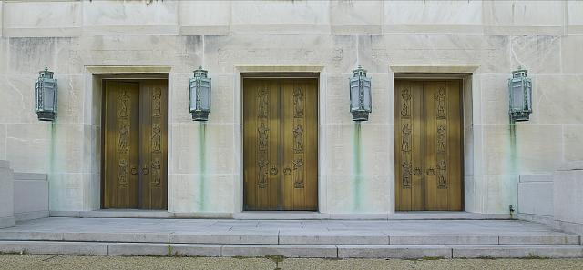 [Exterior view. Doors, east entrance. Sculpted bronze figures by Lee Lawrie. Library of Congress John Adams Building, Washington, D.C.]