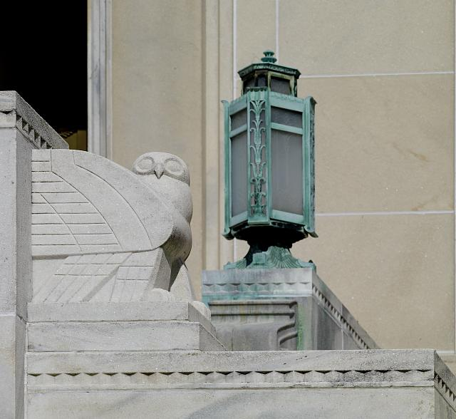 [Exterior view. South entrance (Independence Avenue), sculpted stairway with stylized owl and elaborate lamp. Library of Congress John Adams Building, Washington, D.C.]