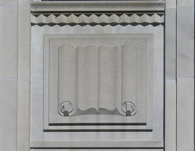[Exterior view. Detail of book scroll. Library of Congress John Adams Building, Washington, D.C.]