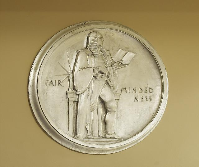 "Sculpture ""Fairmindedness"" located in fifth floor elevator, bank 9, Department of Justice, Washington, D.C."