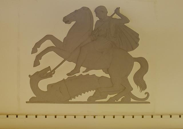 "Sculpture ""St. George and the Dragon,"" Constitution Ave. lobby, Department of Justice, Washington, D.C."