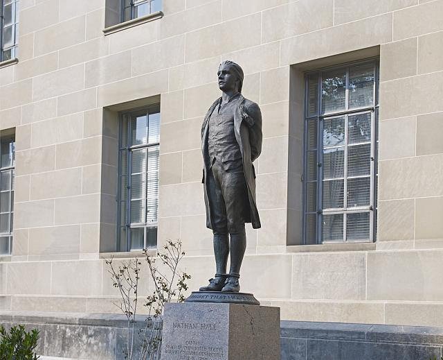 "Sculpture ""Nathan Hale,"" exterior of Department of Justice, Constitution Ave., Washington, D.C."