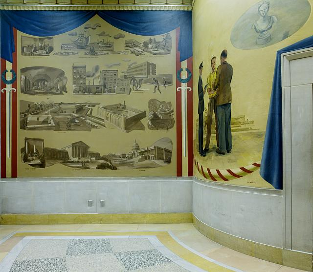 "Two oil paintings ""Violent activities of the Department of Justice"" and ""An Arrest,"" fifth floor, elevator no. 10, Department of Justice, Washington, D.C."