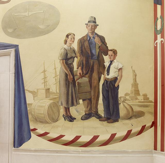 "Oil painting ""Immigration Scene"" located on fifth floor, elevator no. 10, Department of Justice, Washington, D.C."