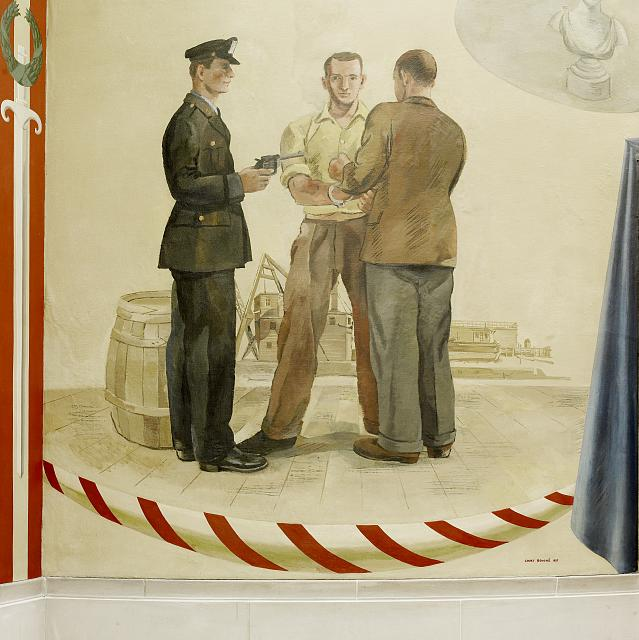 "Oil painting ""An Arrest"" located on fifth floor, elevator no. 10, Department of Justice, Washington, D.C."