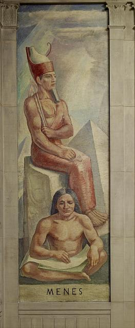 "Oil painting ""Menes,"" stairway of Great Hall, Department of Justice, Washington, D.C."