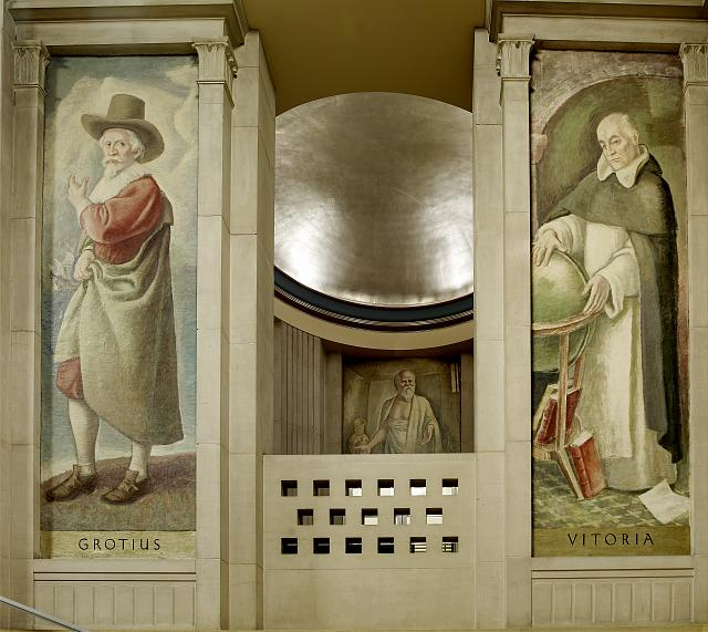 "Oil paintings ""Grotius"" and ""Vitoria,"" in stairway of Great Hall, Department of Justice, Washington, D.C."