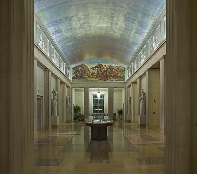 Full view, fifth floor lobby, Department of Justice, Washington, D.C.