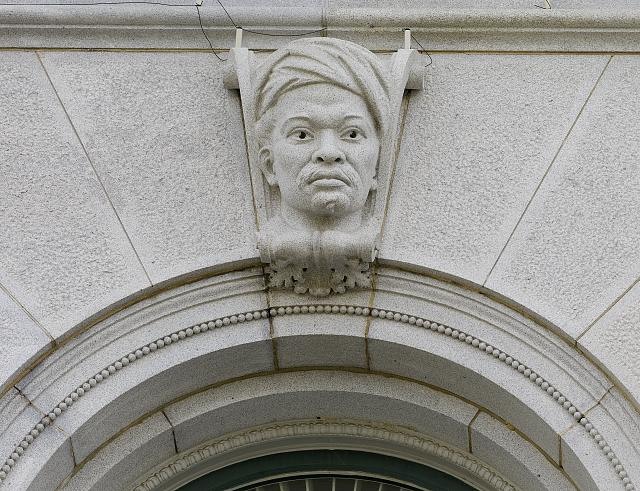 [Exterior view. Ethnological head on a keystone of a first story pavilion window. Library of Congress Thomas Jefferson Building, Washington, D.C.]