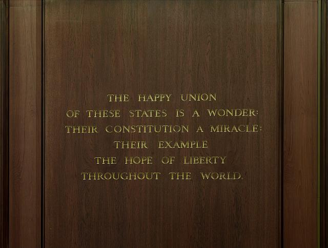 "[Memorial Hall. Quotation from James Madison, beginning ""The happy union of these states...."" Library of Congress James Madison Building, Washington, D.C.]"