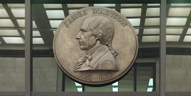 [Entrance Hall. Bronze medallion with profile of James Madison, by Robert Alexander Weinman (above doorway to Manuscript Reading Room). Library of Congress James Madison Building, Washington, D.C.]
