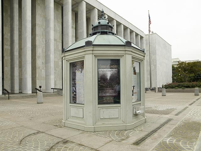[Exterior view. Information kiosk shaped like the cupola of the Jefferson Building. Library of Congress James Madison Building, Washington, D.C.]
