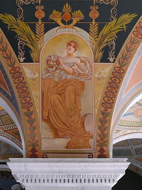 [Second Floor, East Corridor. Mural depicting Comedy in the Literature series by George R. Barse, Jr. Library of Congress Thomas Jefferson Building, Washington, D.C.]