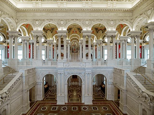 [Great Hall. View of first and second floors, with Minerva mosaic in background. Library of Congress Thomas Jefferson Building, Washington, D.C.]